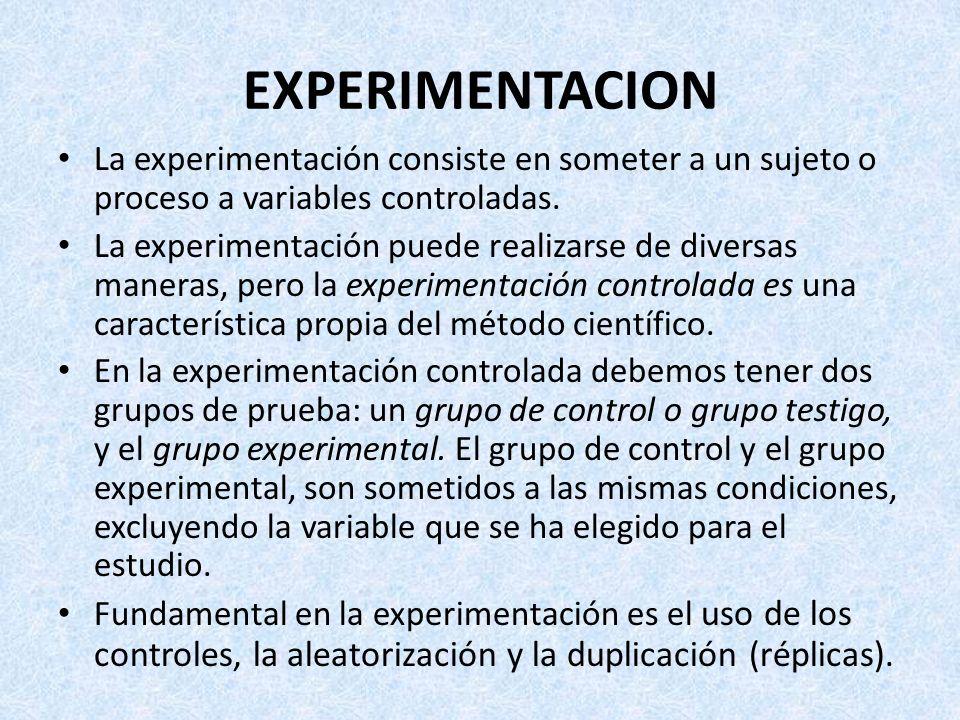 EXPERIMENTACION La experimentación consiste en someter a un sujeto o proceso a variables controladas. La experimentación puede realizarse de diversas