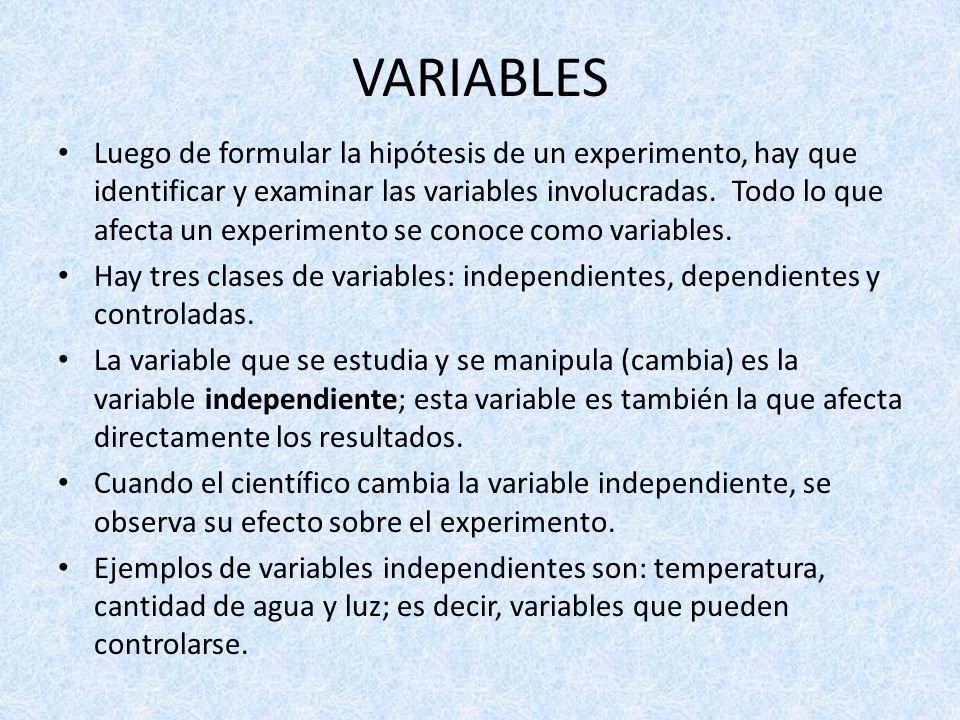 VARIABLES Luego de formular la hipótesis de un experimento, hay que identificar y examinar las variables involucradas. Todo lo que afecta un experimen