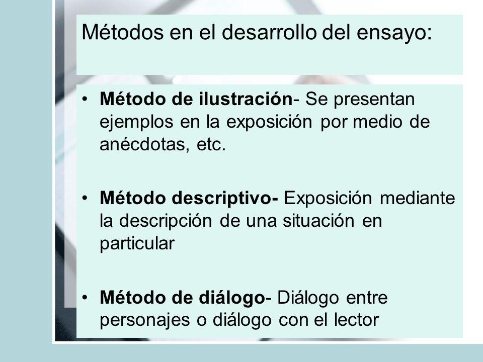 Método de ilustración- Se presentan ejemplos en la exposición por medio de anécdotas, etc. Método descriptivo- Exposición mediante la descripción de u