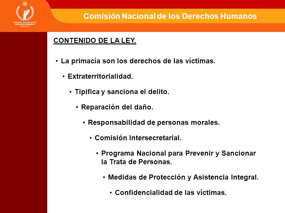 Comisión Nacional de los Derechos Humanos CONTENIDO DE LA LEY.