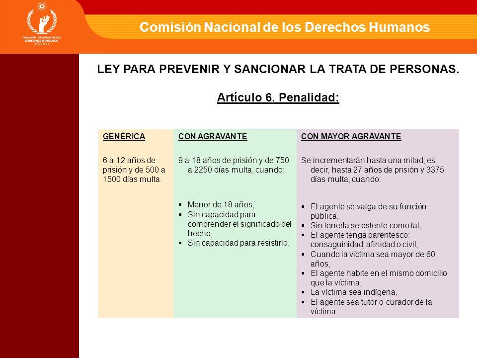 Comisión Nacional de los Derechos Humanos GENÉRICACON AGRAVANTECON MAYOR AGRAVANTE 6 a 12 años de prisión y de 500 a 1500 días multa.