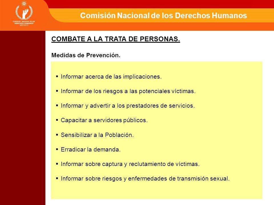 Comisión Nacional de los Derechos Humanos Informar acerca de las implicaciones.