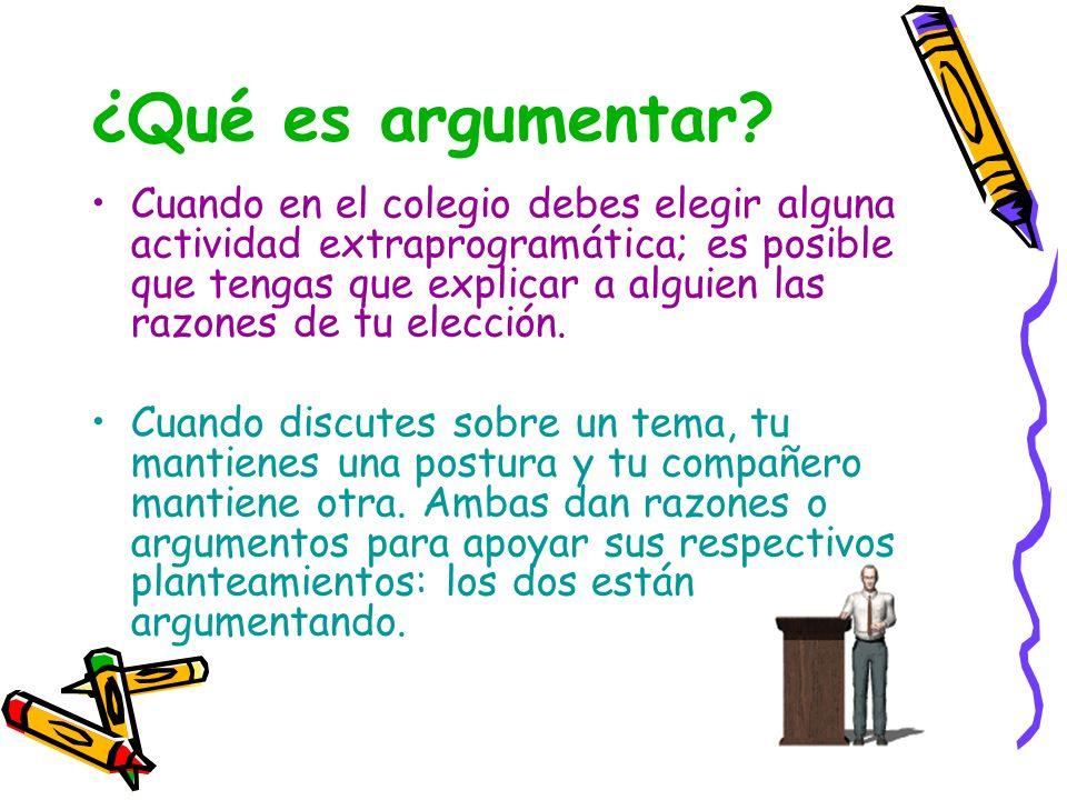¿Qué es argumentar? Cuando en el colegio debes elegir alguna actividad extraprogramática; es posible que tengas que explicar a alguien las razones de