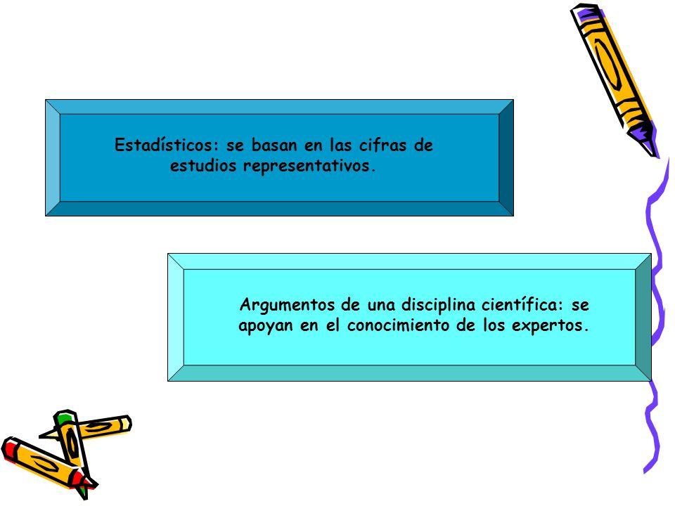 Estadísticos: se basan en las cifras de estudios representativos. Argumentos de una disciplina científica: se apoyan en el conocimiento de los experto