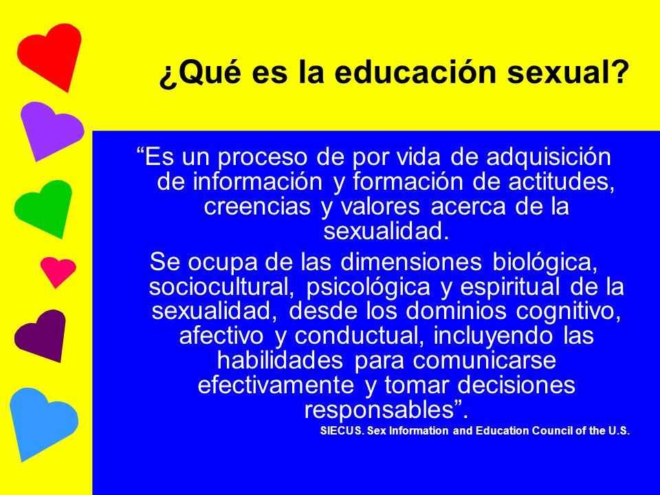 ¿Qué es la educación sexual? Es un proceso de por vida de adquisición de información y formación de actitudes, creencias y valores acerca de la sexual