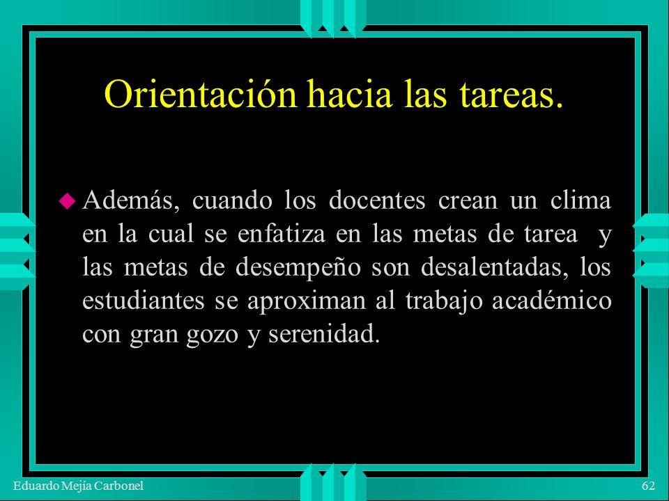Eduardo Mejía Carbonel62 Orientación hacia las tareas.