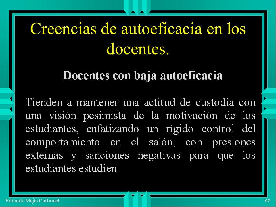 Eduardo Mejía Carbonel68 Creencias de autoeficacia en los docentes.