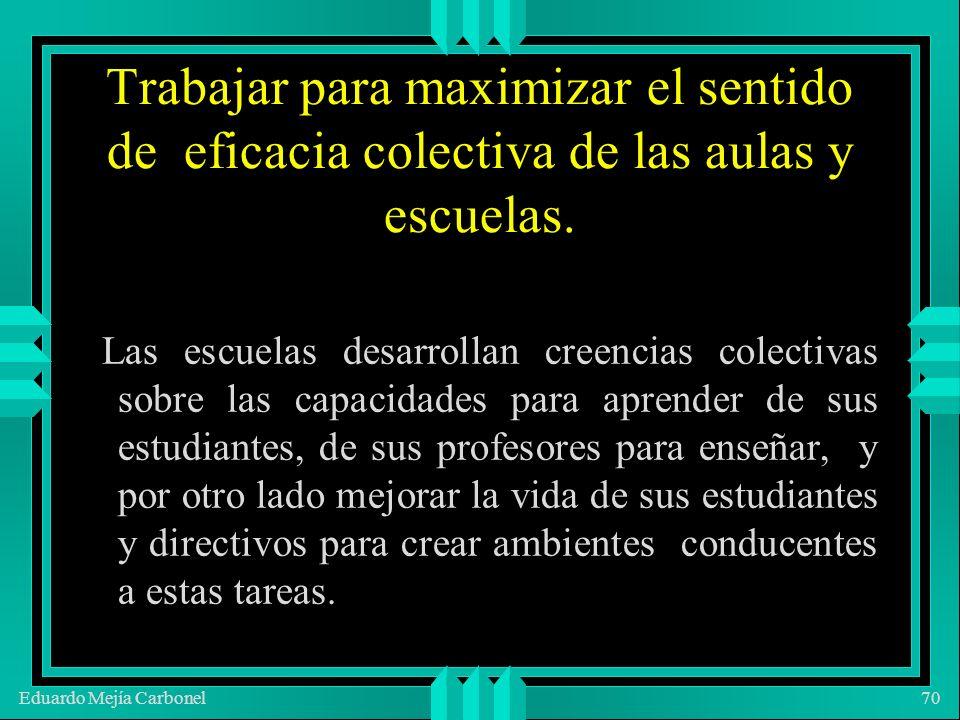 Eduardo Mejía Carbonel70 Trabajar para maximizar el sentido de eficacia colectiva de las aulas y escuelas.