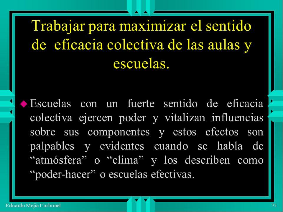 Eduardo Mejía Carbonel71 Trabajar para maximizar el sentido de eficacia colectiva de las aulas y escuelas.