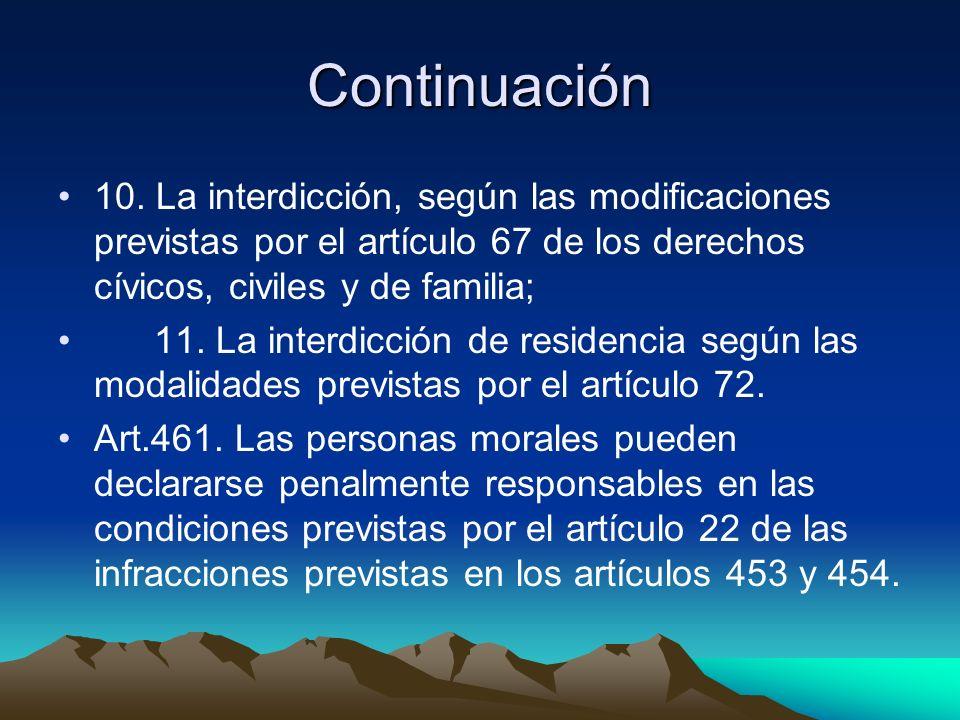 Continuación 10. La interdicción, según las modificaciones previstas por el artículo 67 de los derechos cívicos, civiles y de familia; 11. La interdic