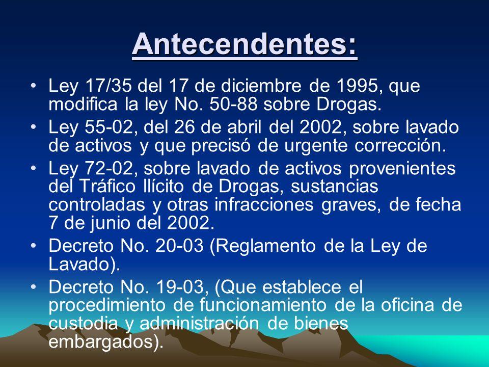 Antecendentes: Ley 17/35 del 17 de diciembre de 1995, que modifica la ley No. 50-88 sobre Drogas. Ley 55-02, del 26 de abril del 2002, sobre lavado de