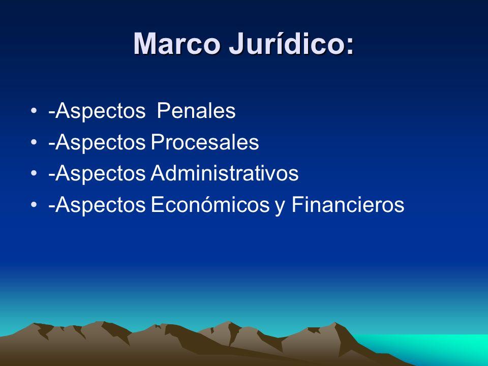 Marco Jurídico: -Aspectos Penales -Aspectos Procesales -Aspectos Administrativos -Aspectos Económicos y Financieros
