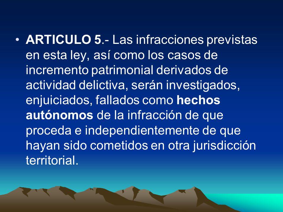 ARTICULO 5.- Las infracciones previstas en esta ley, así como los casos de incremento patrimonial derivados de actividad delictiva, serán investigados
