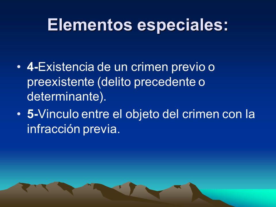 Elementos especiales: 4-Existencia de un crimen previo o preexistente (delito precedente o determinante). 5-Vinculo entre el objeto del crimen con la