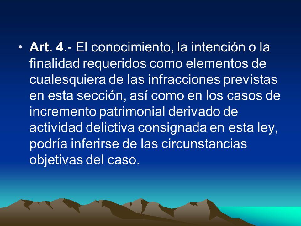 Art. 4.- El conocimiento, la intención o la finalidad requeridos como elementos de cualesquiera de las infracciones previstas en esta sección, así com