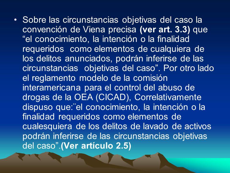 Sobre las circunstancias objetivas del caso la convención de Viena precisa (ver art. 3.3) que el conocimiento, la intención o la finalidad requeridos