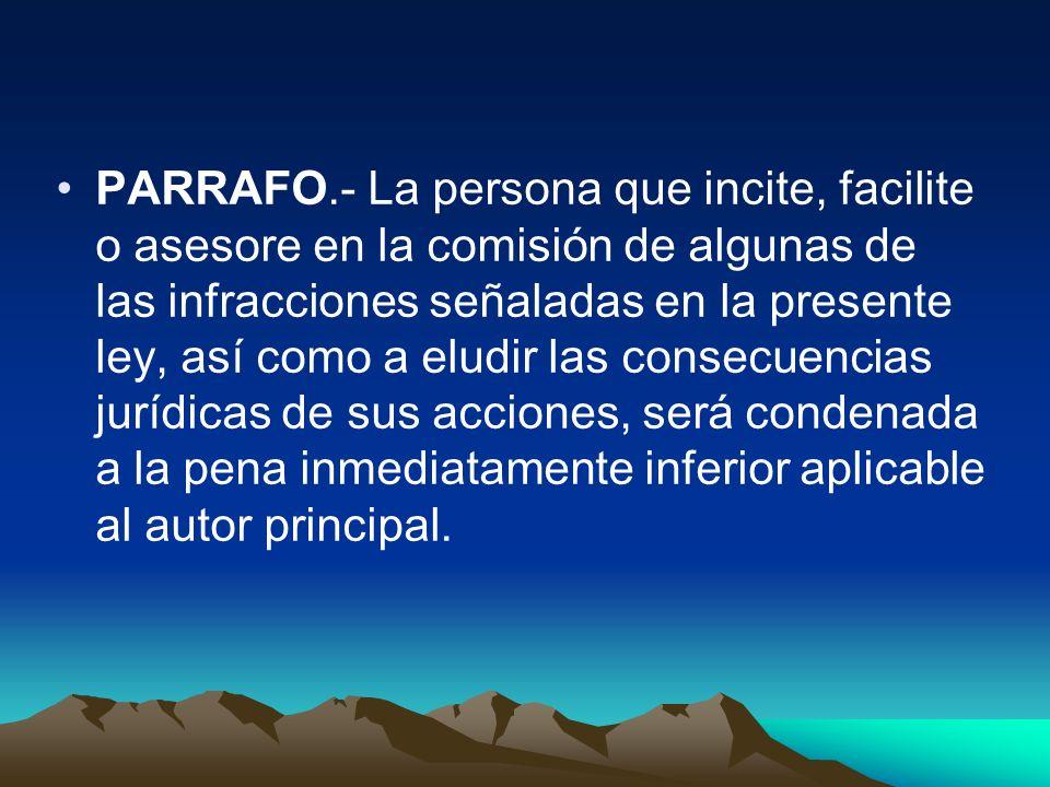 PARRAFO.- La persona que incite, facilite o asesore en la comisión de algunas de las infracciones señaladas en la presente ley, así como a eludir las