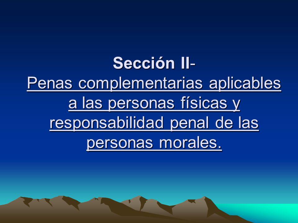Sección II- Penas complementarias aplicables a las personas físicas y responsabilidad penal de las personas morales.
