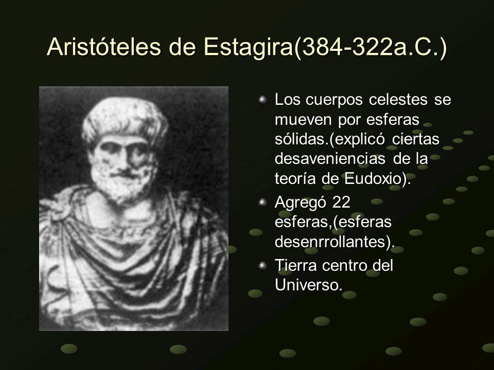 Aristóteles de Estagira(384-322a.C.) Los cuerpos celestes se mueven por esferas sólidas.(explicó ciertas desaveniencias de la teoría de Eudoxio). Agre