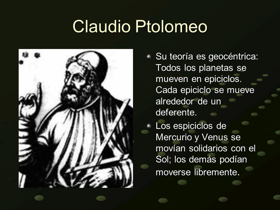 Claudio Ptolomeo Su teoría es geocéntrica: Todos los planetas se mueven en epiciclos. Cada epiciclo se mueve alrededor de un deferente. Los espiciclos
