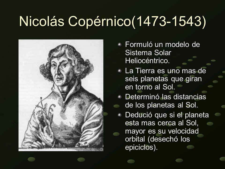 Nicolás Copérnico(1473-1543) Formuló un modelo de Sistema Solar Heliocéntrico. La Tierra es uno mas de seis planetas que giran en torno al Sol. Determ