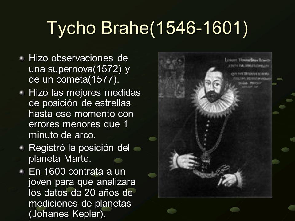 Tycho Brahe(1546-1601) Hizo observaciones de una supernova(1572) y de un cometa(1577). Hizo las mejores medidas de posición de estrellas hasta ese mom