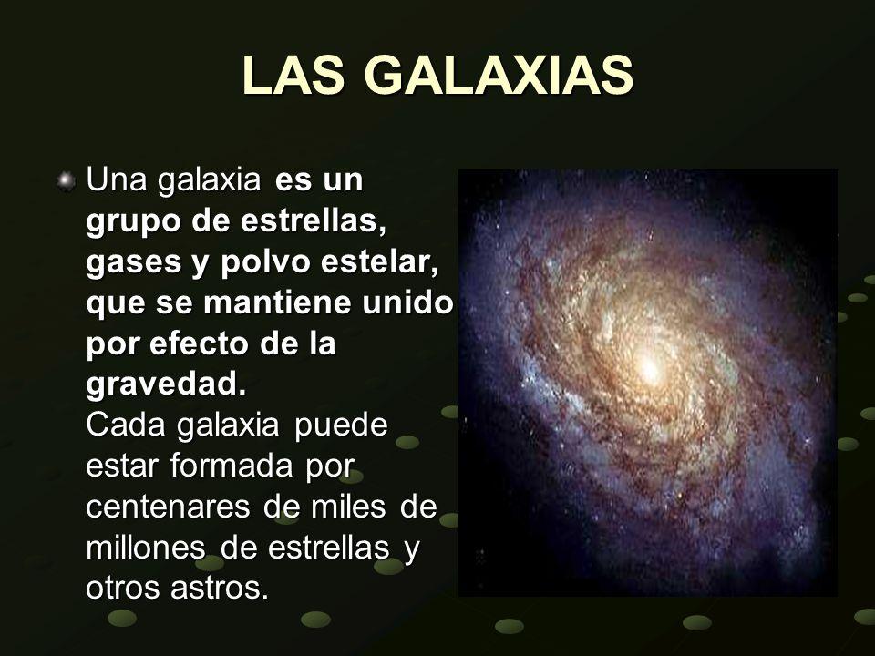 LAS GALAXIAS Una galaxia es un grupo de estrellas, gases y polvo estelar, que se mantiene unido por efecto de la gravedad. Cada galaxia puede estar fo