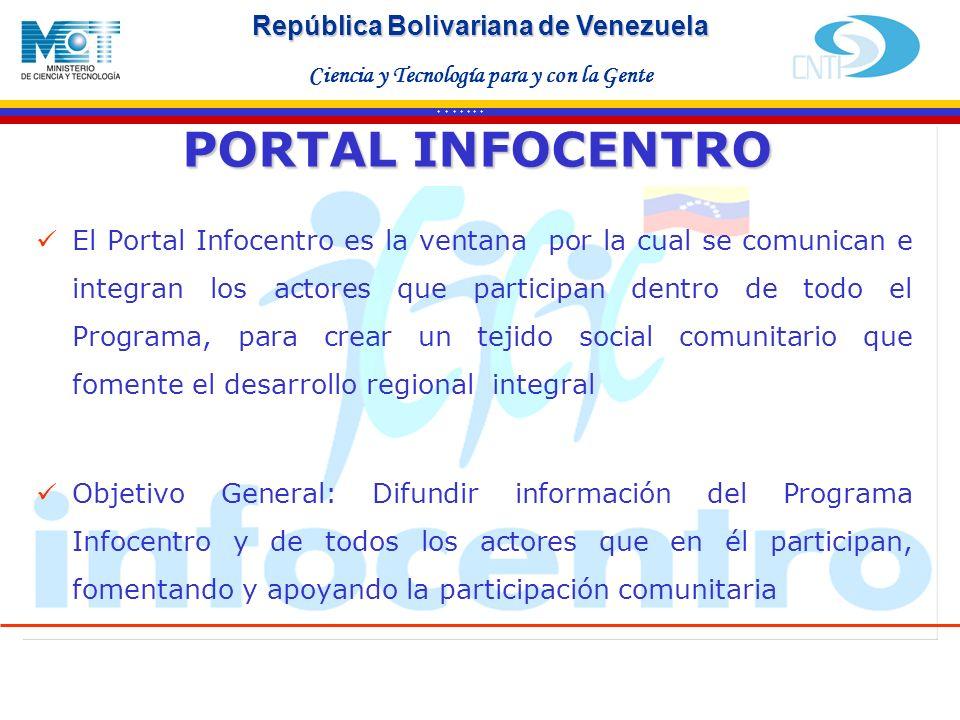 Haga clic para modificar el estilo de texto del patrón Segundo nivel Tercer nivel Cuarto nivel Quinto nivel * * * * * * * República Bolivariana de Venezuela Ciencia y Tecnología para y con la Gente PORTAL INFOCENTRO El Portal Infocentro es la ventana por la cual se comunican e integran los actores que participan dentro de todo el Programa, para crear un tejido social comunitario que fomente el desarrollo regional integral Objetivo General: Difundir información del Programa Infocentro y de todos los actores que en él participan, fomentando y apoyando la participación comunitaria