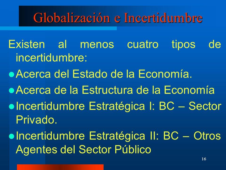 16 Globalización e Incertidumbre Existen al menos cuatro tipos de incertidumbre: Acerca del Estado de la Economía. Acerca de la Estructura de la Econo