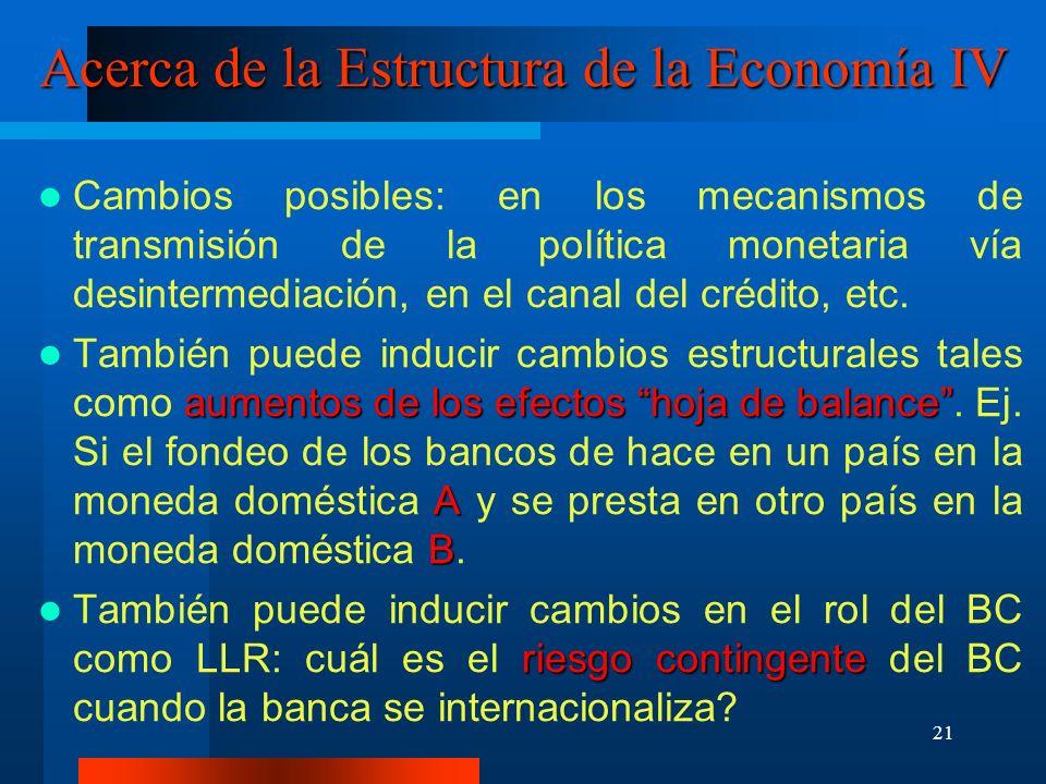 21 Acerca de la Estructura de la Economía IV Cambios posibles: en los mecanismos de transmisión de la política monetaria vía desintermediación, en el
