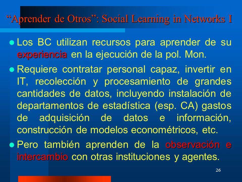 26 Aprender de Otros: Social Learning in Networks I experiencia Los BC utilizan recursos para aprender de su experiencia en la ejecución de la pol. Mo