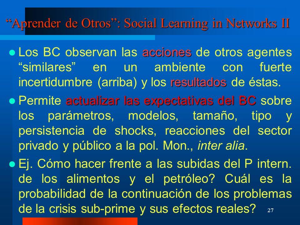 27 Aprender de Otros: Social Learning in Networks II acciones resultados Los BC observan las acciones de otros agentes similares en un ambiente con fu