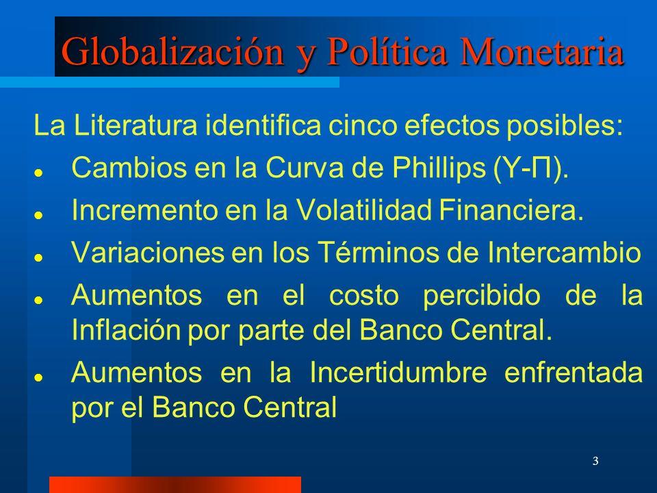 3 Globalización y Política Monetaria La Literatura identifica cinco efectos posibles: Cambios en la Curva de Phillips (Y-П). Incremento en la Volatili