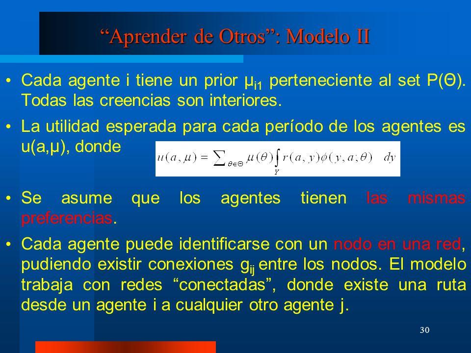 30 Aprender de Otros: Modelo II Cada agente i tiene un prior μ i1 perteneciente al set P( Θ ). Todas las creencias son interiores. La utilidad esperad