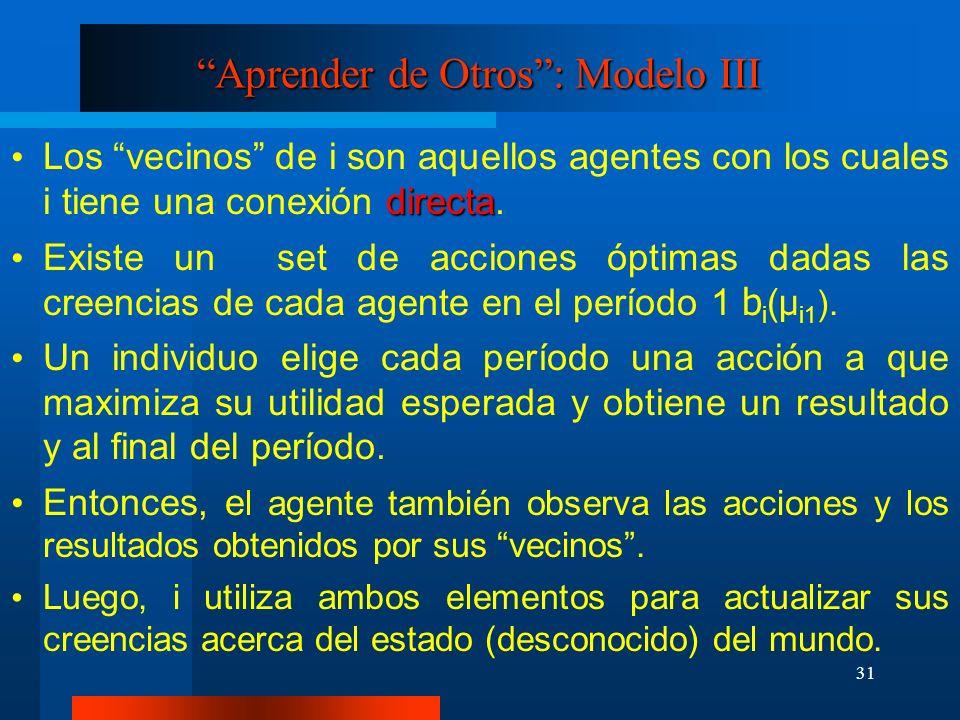 31 Aprender de Otros: Modelo III directa Los vecinos de i son aquellos agentes con los cuales i tiene una conexión directa. Existe un set de acciones