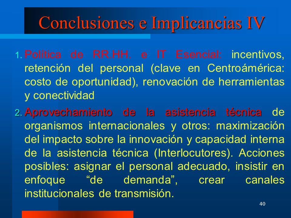 40 Conclusiones e Implicancias IV Política de RR.HH. e IT Esencial: incentivos, retención del personal (clave en Centroámérica: costo de oportunidad),