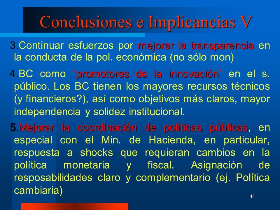 41 Conclusiones e Implicancias V mejorar la transparencia Continuar esfuerzos por mejorar la transparencia en la conducta de la pol. económica (no sól