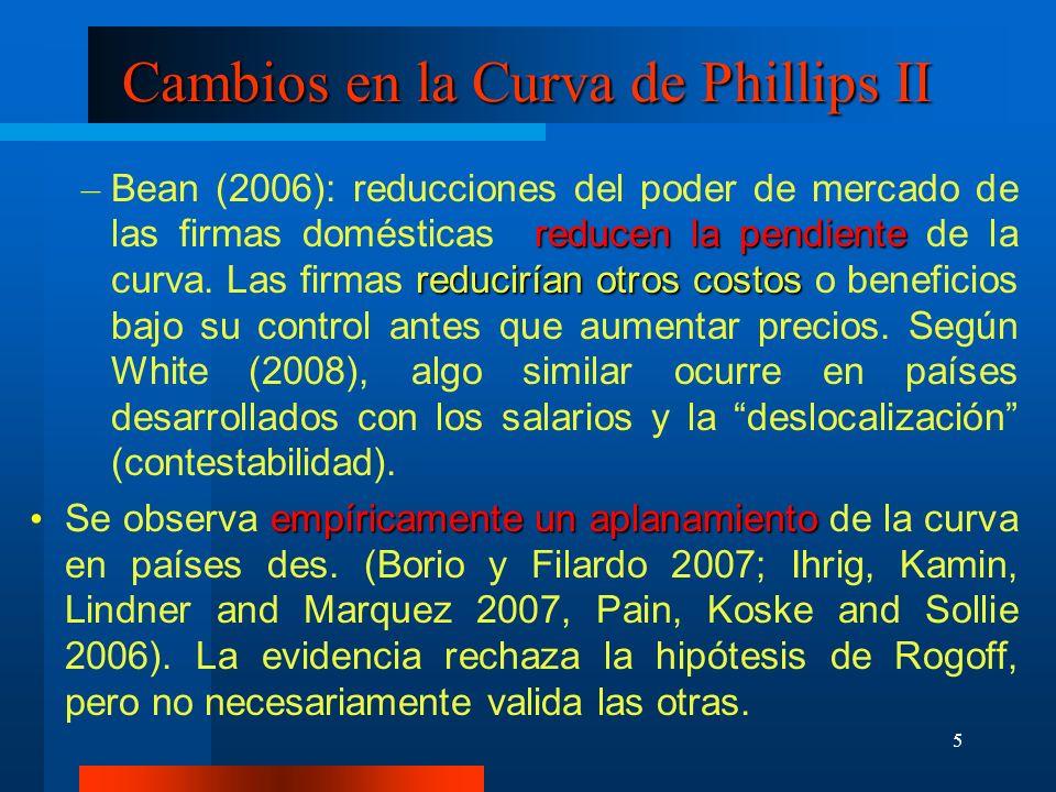 5 Cambios en la Curva de Phillips II reducen la pendiente reducirían otros costos – Bean (2006): reducciones del poder de mercado de las firmas domést