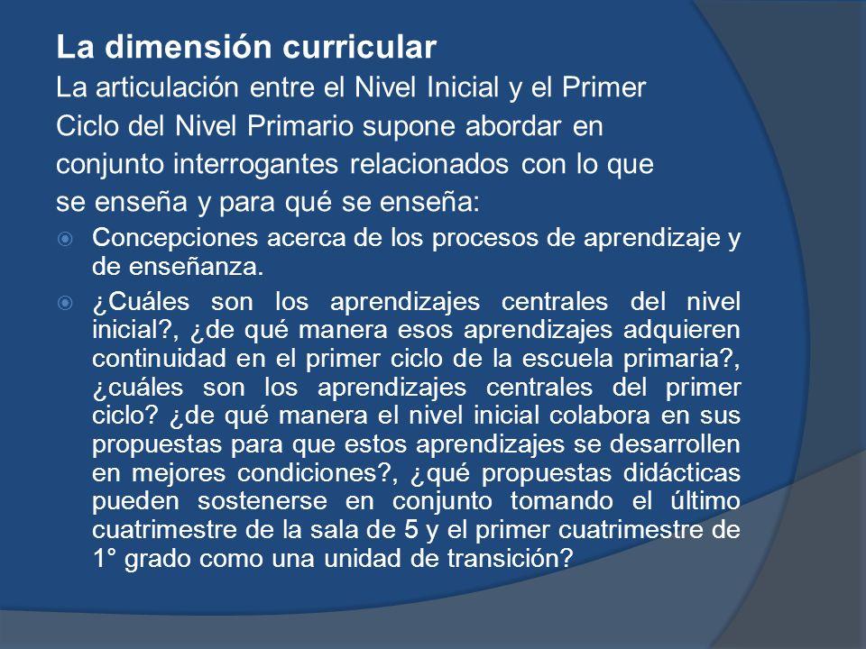 La dimensión curricular La articulación entre el Nivel Inicial y el Primer Ciclo del Nivel Primario supone abordar en conjunto interrogantes relaciona