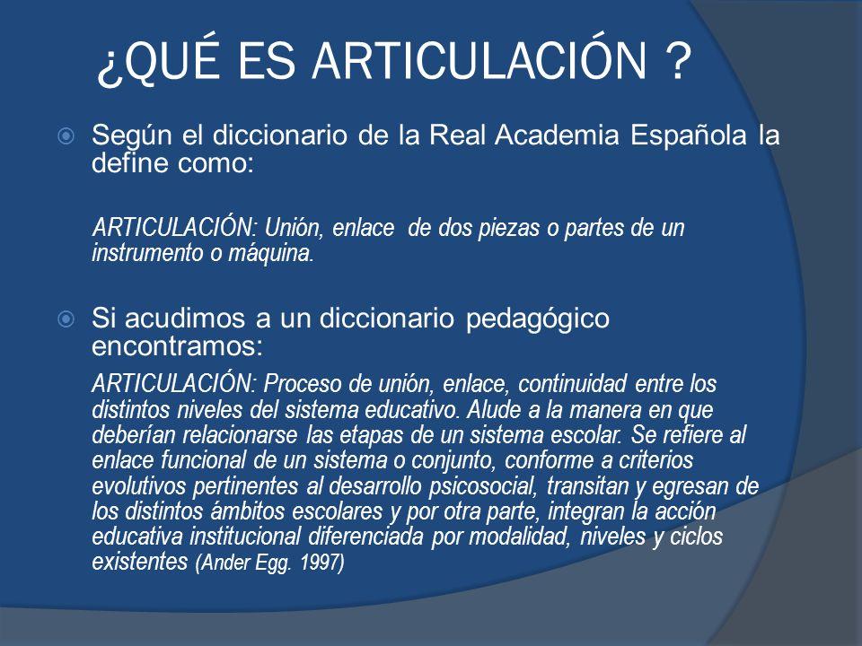 ¿QUÉ ES ARTICULACIÓN ? Según el diccionario de la Real Academia Española la define como: ARTICULACIÓN: Unión, enlace de dos piezas o partes de un inst