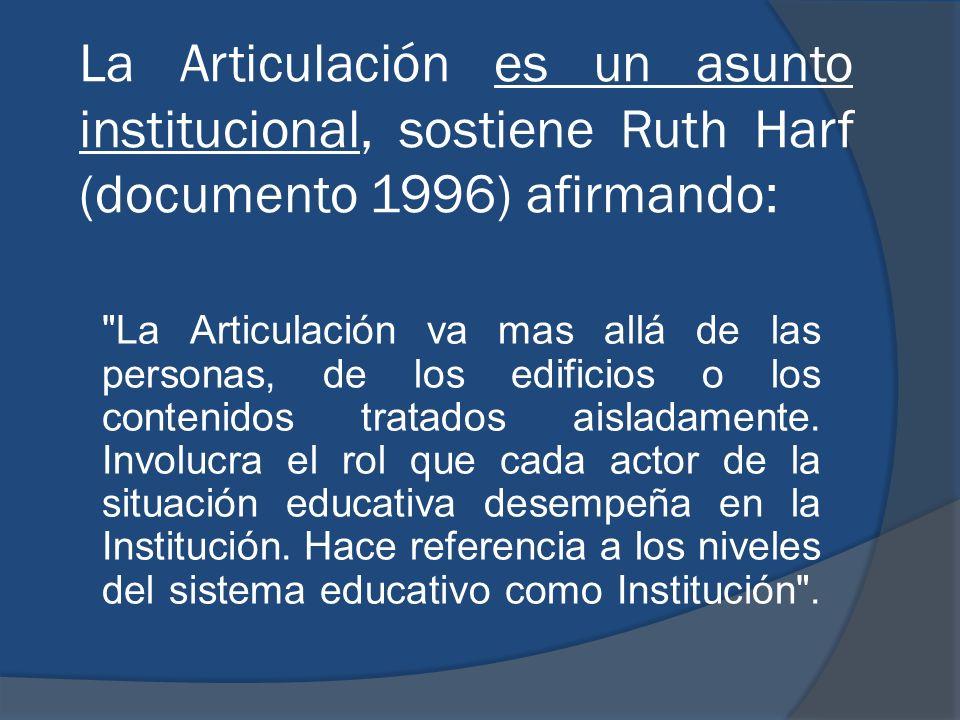 La Articulación es un asunto institucional, sostiene Ruth Harf (documento 1996) afirmando: