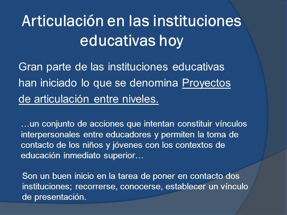 Articulación en las instituciones educativas hoy Gran parte de las instituciones educativas han iniciado lo que se denomina Proyectos de articulación