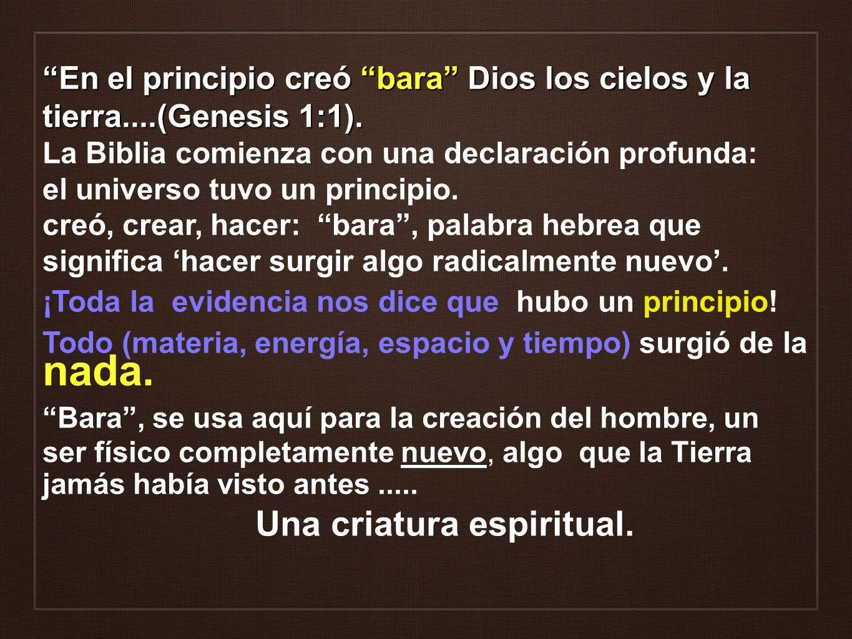 En el principio creó bara Dios los cielos y la tierra....(Genesis 1:1). La Biblia comienza con una declaración profunda: el universo tuvo un principio