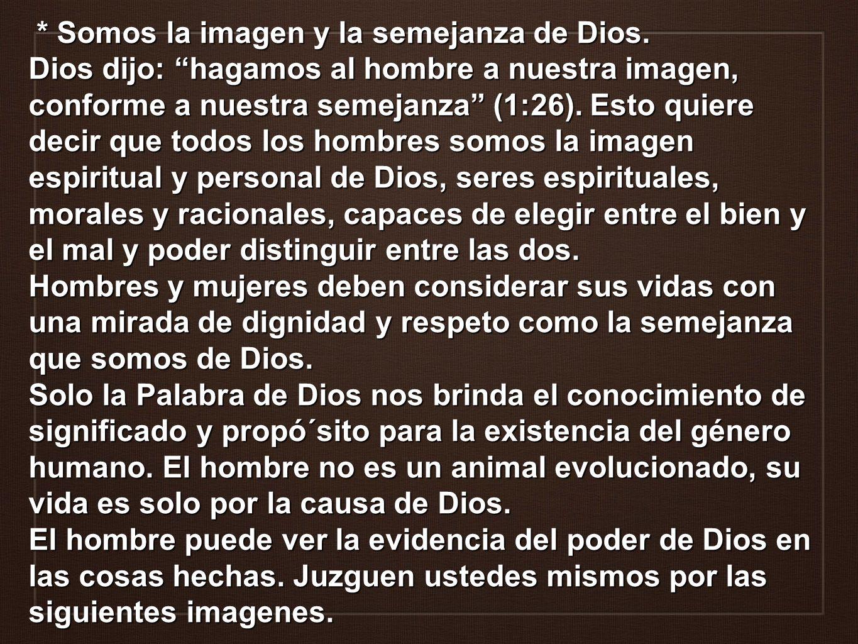* Somos la imagen y la semejanza de Dios. * Somos la imagen y la semejanza de Dios. Dios dijo: hagamos al hombre a nuestra imagen, conforme a nuestra