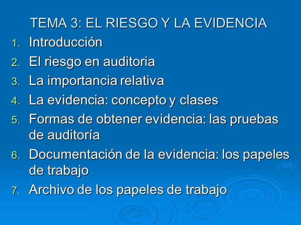 TEMA 3: EL RIESGO Y LA EVIDENCIA 1. Introducción 2. El riesgo en auditoria 3. La importancia relativa 4. La evidencia: concepto y clases 5. Formas de