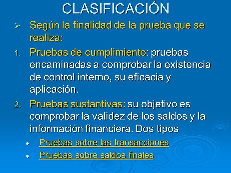CLASIFICACIÓN Según la finalidad de la prueba que se realiza: Según la finalidad de la prueba que se realiza: 1. Pruebas de cumplimiento: pruebas enca