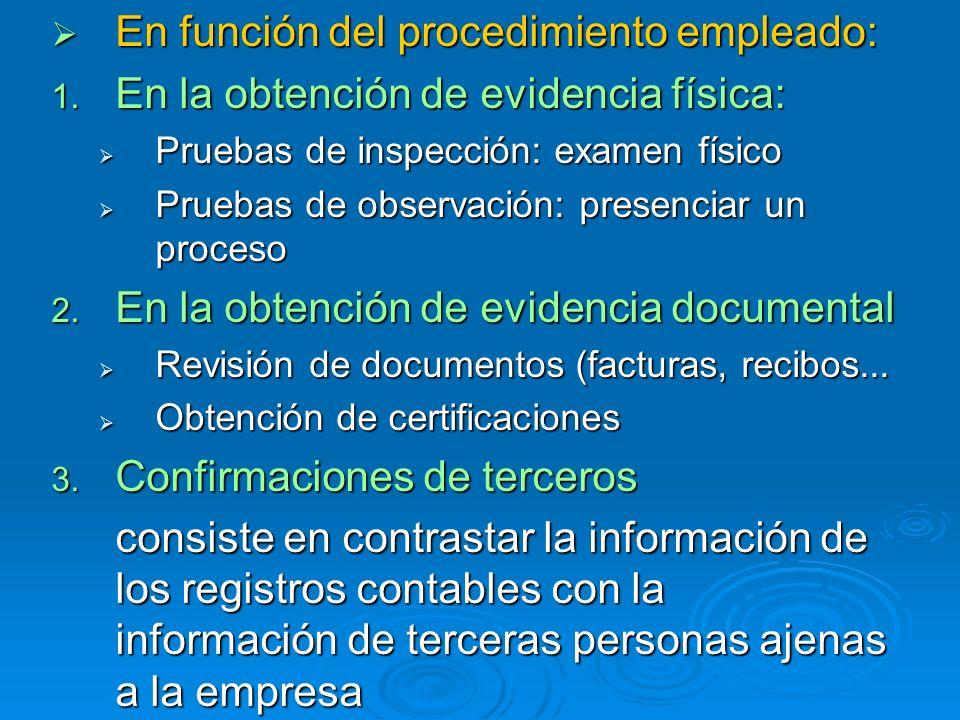 En función del procedimiento empleado: En función del procedimiento empleado: 1. En la obtención de evidencia física: Pruebas de inspección: examen fí