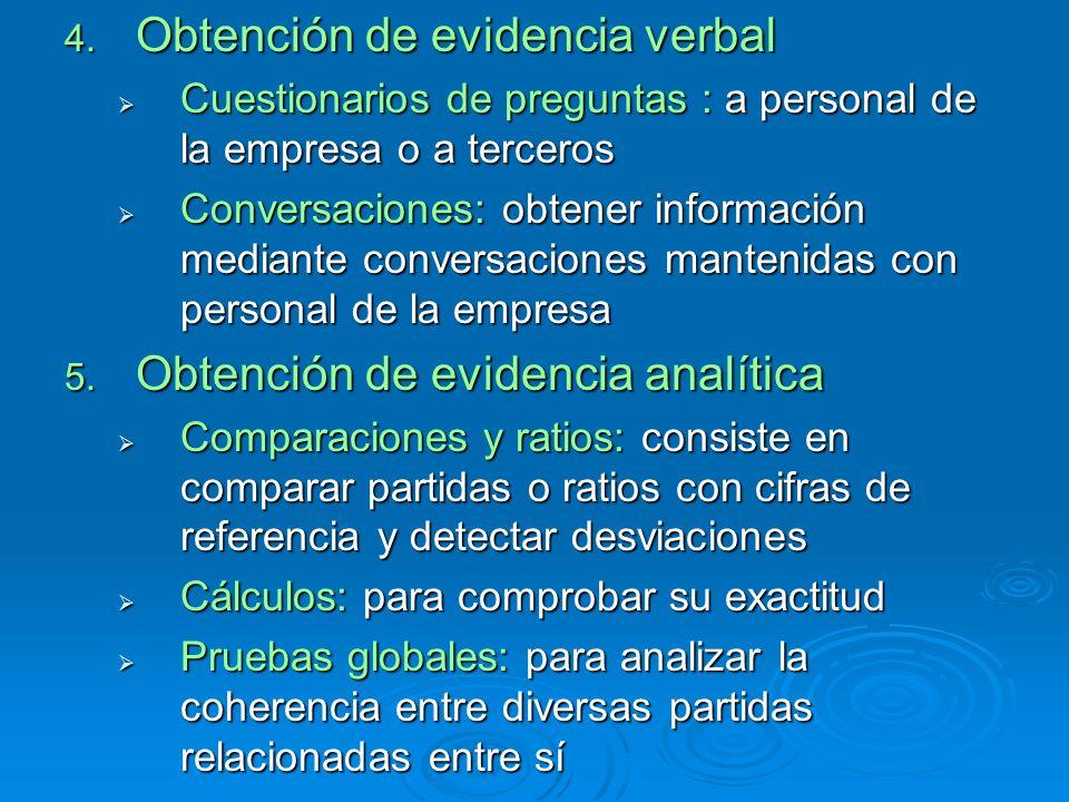 4. Obtención de evidencia verbal Cuestionarios de preguntas : a personal de la empresa o a terceros Cuestionarios de preguntas : a personal de la empr