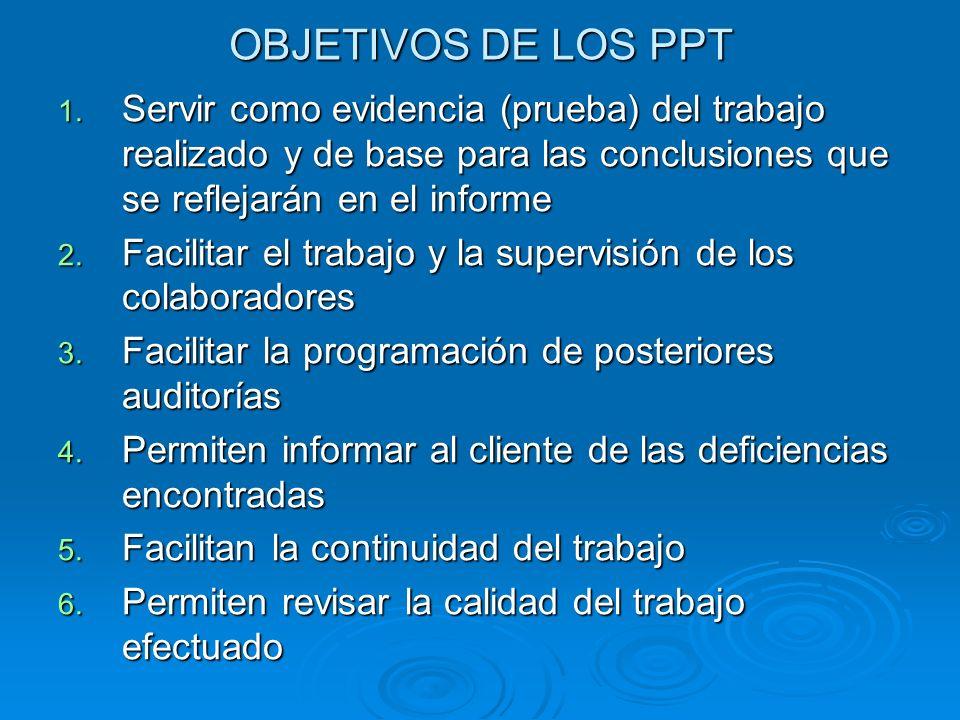 OBJETIVOS DE LOS PPT 1. Servir como evidencia (prueba) del trabajo realizado y de base para las conclusiones que se reflejarán en el informe 2. Facili