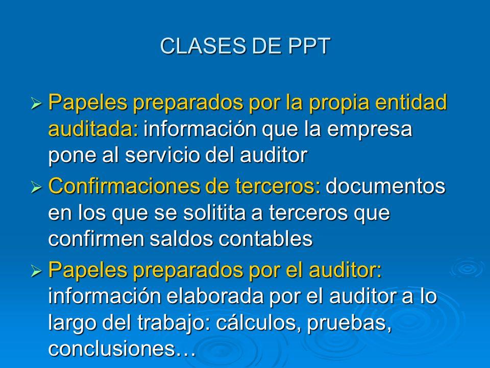 CLASES DE PPT Papeles preparados por la propia entidad auditada: información que la empresa pone al servicio del auditor Papeles preparados por la pro